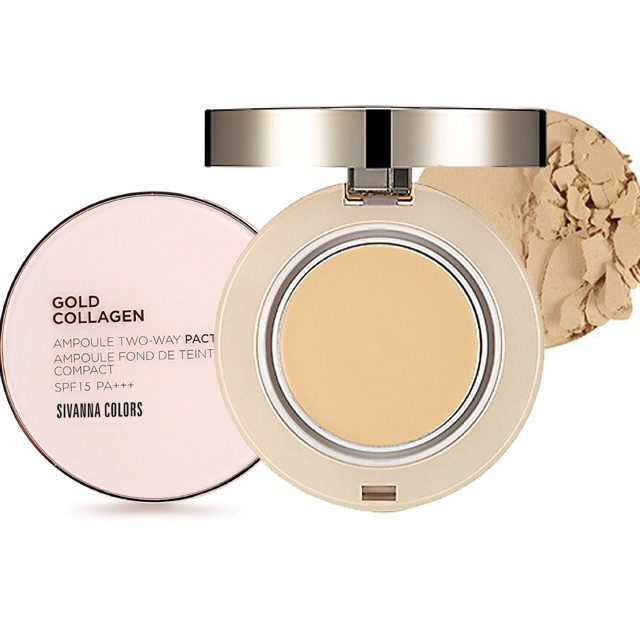 [Sivanna] Phấn phủ Sivanna Colors Gold Collagen Powder Ampoule Two way Pact spf 15 PA+++ HF675
